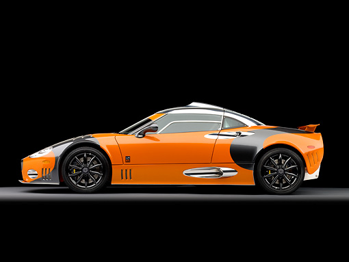 AUT 44 RK0038 01 © Kimball Stock 2009 Spyker C8 Laviolette LM85 Orange And Black Profile View Studio