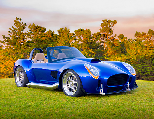 AUT 45 BK0004 01 © Kimball Stock 2010 Iconic AC Roadster Blue 3/4 Front View On Grass By Trees