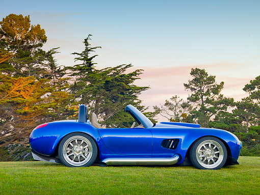 AUT 45 BK0006 01 © Kimball Stock 2010 Iconic AC Roadster Blue Profile View On Grass By Trees