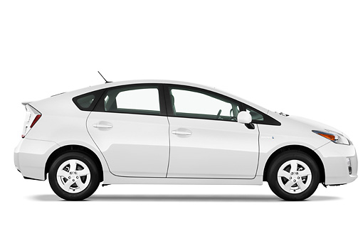 AUT 45 IZ0002 01 © Kimball Stock 2011 Toyota Prius 2 White Profile View Studio