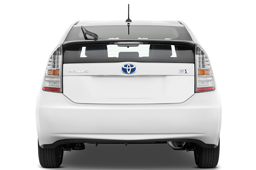 AUT 45 IZ0007 01 © Kimball Stock 2011 Toyota Prius 2 White Rear View Studio