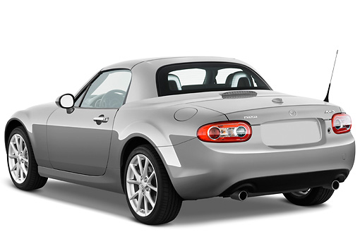 AUT 45 IZ0049 01 © Kimball Stock 2010 Mazda Miata MX-5 Convertible Silver 3/4 Rear View Studio