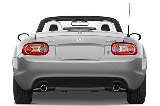 AUT 45 IZ0050 01 © Kimball Stock 2010 Mazda Miata MX-5 Convertible Silver Rear View Studio