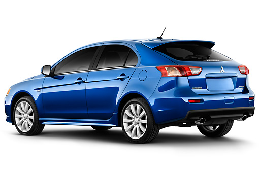 AUT 45 IZ0095 01 © Kimball Stock 2010 Mitsubishi Lancer Sportback Blue 3/4 Rear View Studio