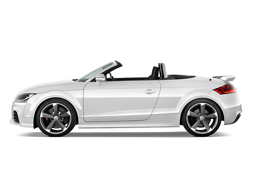 AUT 45 IZ0103 01 © Kimball Stock 2013 Audi TT RS Convertible White Profile View Studio