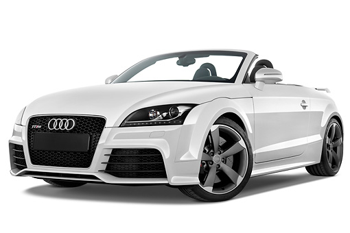 AUT 45 IZ0105 01 © Kimball Stock 2013 Audi TT RS Convertible White 3/4 Front View Studio