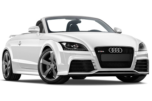 AUT 45 IZ0106 01 © Kimball Stock 2013 Audi TT RS Convertible White 3/4 Front View Studio