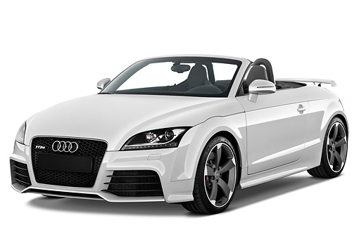 AUT 45 IZ0107 01 © Kimball Stock 2013 Audi TT RS Convertible White 3/4 Front View Studio