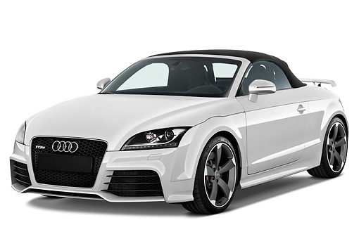 AUT 45 IZ0108 01 © Kimball Stock 2013 Audi TT RS Convertible White 3/4 Front View Studio