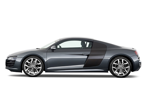 AUT 45 IZ0137 01 © Kimball Stock 2011 Audi R8 5.2 V10 FSI Gray Profile View Studio