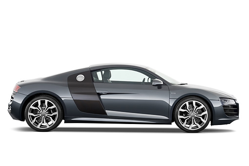 AUT 45 IZ0138 01 © Kimball Stock 2011 Audi R8 5.2 V10 FSI Gray Profile View Studio