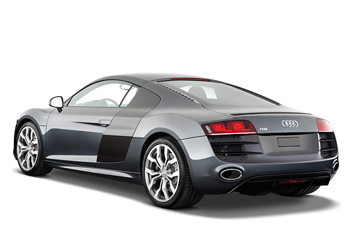 AUT 45 IZ0142 01 © Kimball Stock 2011 Audi R8 5.2 V10 FSI Gray 3/4 Rear View Studio