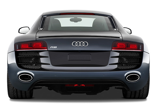 AUT 45 IZ0143 01 © Kimball Stock 2011 Audi R8 5.2 V10 FSI Gray Rear View Studio