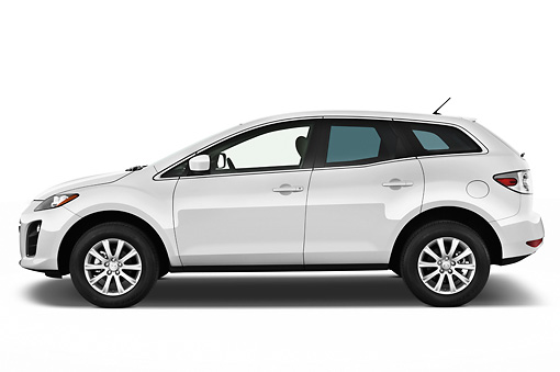 AUT 45 IZ0169 01 © Kimball Stock 2011 Mazda CX7i Sport White Profile View On White Seamless