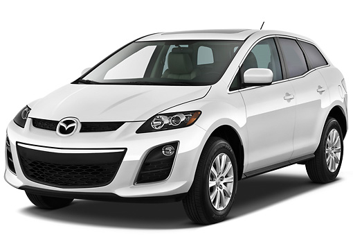 AUT 45 IZ0171 01 © Kimball Stock 2011 Mazda CX7i Sport White 3/4 Front View On White Seamless