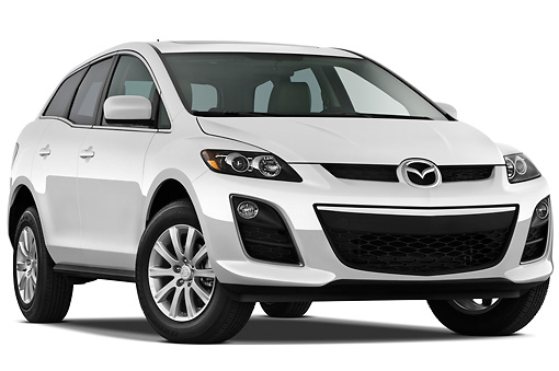 AUT 45 IZ0172 01 © Kimball Stock 2011 Mazda CX7i Sport White 3/4 Front View On White Seamless