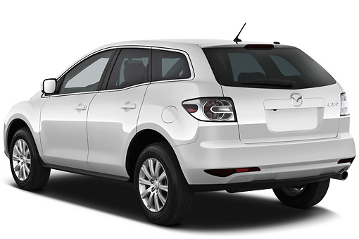 AUT 45 IZ0174 01 © Kimball Stock 2011 Mazda CX7i Sport White 3/4 Rear View On White Seamless