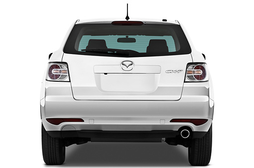 AUT 45 IZ0176 01 © Kimball Stock 2011 Mazda CX7i Sport White Rear View On White Seamless