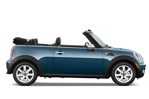 AUT 45 IZ0186 01 © Kimball Stock 2010 Mini Cooper Convertible Blue Profile View On White Seamless