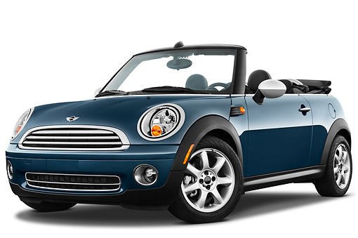 AUT 45 IZ0190 01 © Kimball Stock 2010 Mini Cooper Convertible Blue 3/4 Front View On White Seamless