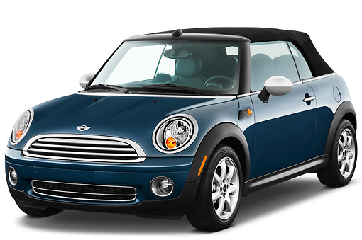 AUT 45 IZ0191 01 © Kimball Stock 2010 Mini Cooper Convertible Blue 3/4 Front View On White Seamless
