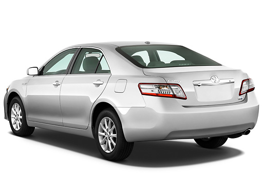 AUT 45 IZ0200 01 © Kimball Stock 2011 Toyota Camry Hybrid Silver 3/4 Rear View On White Seamless