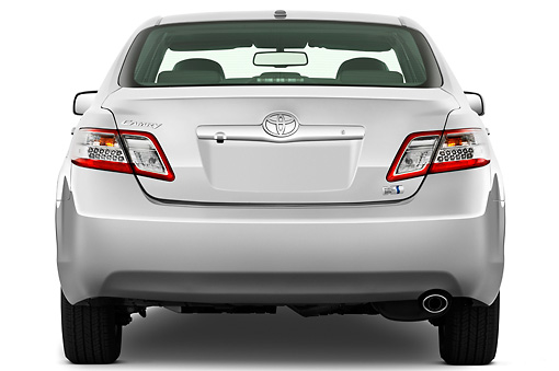 AUT 45 IZ0202 01 © Kimball Stock 2011 Toyota Camry Hybrid Silver Rear View On White Seamless