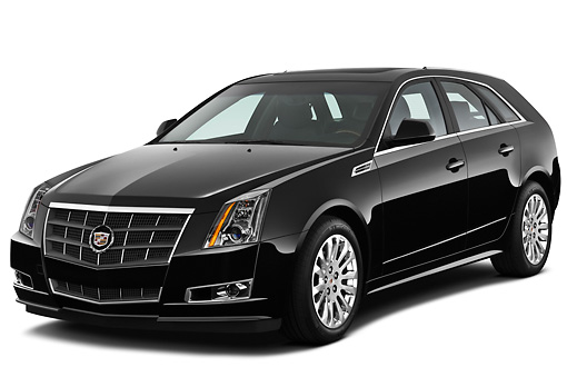 AUT 45 IZ0204 01 © Kimball Stock 2010 Cadillac CTS Sport Wagon Black 3/4 Front View On White Seamless