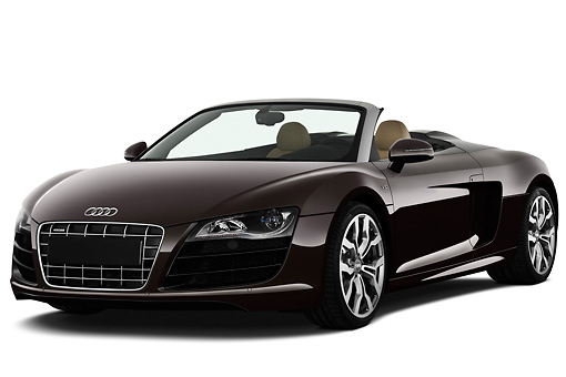 AUT 45 IZ0207 01 © Kimball Stock 2011 Audi R8 Spyder V10 Convertible Brown 3/4 Front View On White Seamless