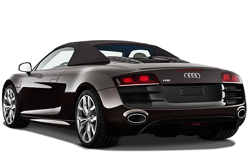 AUT 45 IZ0209 01 © Kimball Stock 2011 Audi R8 Spyder V10 Convertible Brown 3/4 Rear View On White Seamless