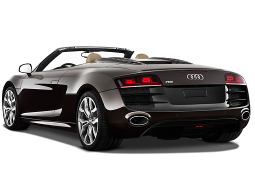 AUT 45 IZ0210 01 © Kimball Stock 2011 Audi R8 Spyder V10 Convertible Brown 3/4 Rear View On White Seamless