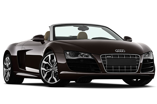 AUT 45 IZ0211 01 © Kimball Stock 2011 Audi R8 Spyder V10 Convertible Brown 3/4 Front View On White Seamless