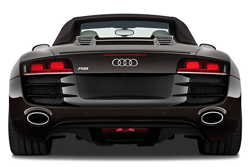 AUT 45 IZ0214 01 © Kimball Stock 2011 Audi R8 Spyder V10 Convertible Brown Rear View On White Seamless