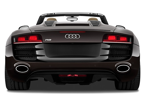 AUT 45 IZ0215 01 © Kimball Stock 2011 Audi R8 Spyder V10 Convertible Brown Rear View On White Seamless