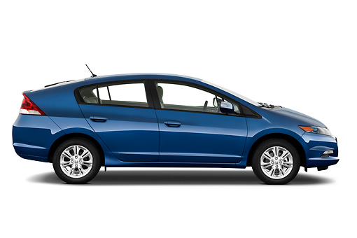 AUT 45 IZ0225 01 © Kimball Stock 2011 Honda Insight EX-L Blue Profile View On White Seamless