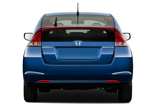 AUT 45 IZ0231 01 © Kimball Stock 2011 Honda Insight EX-L Blue Rear View On White Seamless