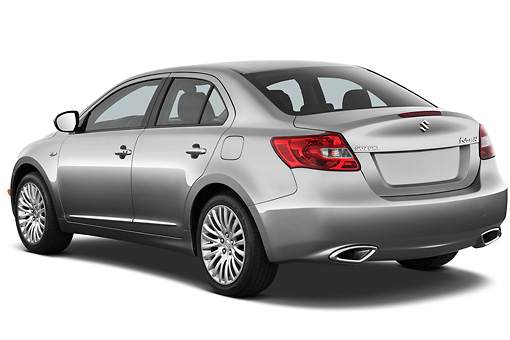 AUT 45 IZ0248 01 © Kimball Stock 2013 Suzuki Kizashi SLS Silver 3/4 Rear View On White Seamless