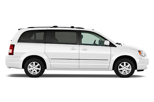 AUT 45 IZ0252 01 © Kimball Stock 2010 Chrysler Town & Country Touring White Profile View On White Seamless