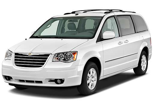 AUT 45 IZ0253 01 © Kimball Stock 2010 Chrysler Town & Country Touring White 3/4 Front View On White Seamless