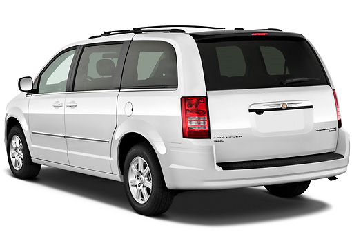 AUT 45 IZ0256 01 © Kimball Stock 2010 Chrysler Town & Country Touring White 3/4 Rear View On White Seamless