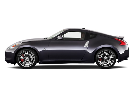 AUT 45 IZ0267 01 © Kimball Stock 2012 Nissan 370Z 40th Anniversary Edition Coupe Graphite Profile View On White Seamless