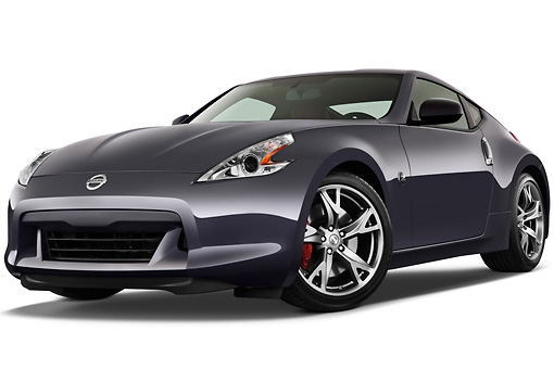 AUT 45 IZ0269 01 © Kimball Stock 2012 Nissan 370Z 40th Anniversary Edition Coupe Graphite 3/4 Front View On White Seamless