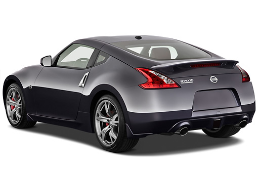 AUT 45 IZ0271 01 © Kimball Stock 2012 Nissan 370Z 40th Anniversary Edition Coupe Graphite 3/4 Rear View On White Seamless