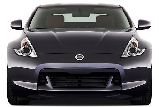 AUT 45 IZ0273 01 © Kimball Stock 2012 Nissan 370Z 40th Anniversary Edition Coupe Graphite Head On View On White Seamless
