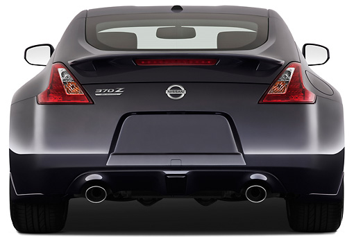 AUT 45 IZ0274 01 © Kimball Stock 2012 Nissan 370Z 40th Anniversary Edition Coupe Graphite Rear View On White Seamless