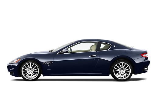AUT 45 IZ0275 01 © Kimball Stock 2013 Maserati GranTurismo S Automatic Coupe Blue Profile View On White Seamless