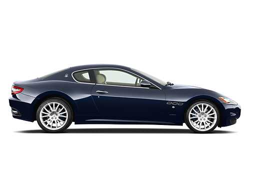 AUT 45 IZ0276 01 © Kimball Stock 2013 Maserati GranTurismo S Automatic Coupe Blue Profile View On White Seamless
