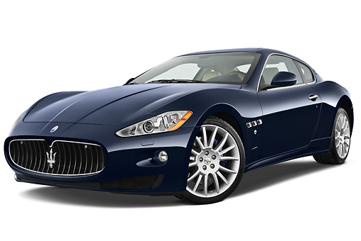 AUT 45 IZ0278 01 © Kimball Stock 2013 Maserati GranTurismo S Automatic Coupe Blue 3/4 Front View On White Seamless