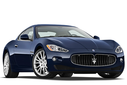 AUT 45 IZ0279 01 © Kimball Stock 2013 Maserati GranTurismo S Automatic Coupe Blue 3/4 Front View On White Seamless