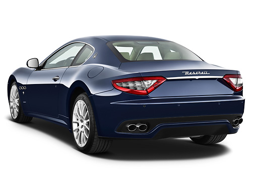 AUT 45 IZ0280 01 © Kimball Stock 2013 Maserati GranTurismo S Automatic Coupe Blue 3/4 Rear View On White Seamless